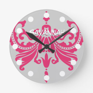 Personalized Pink Damask Wall Clock Name