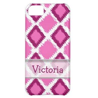 Personalized Pink Diamond Ikat Pattern