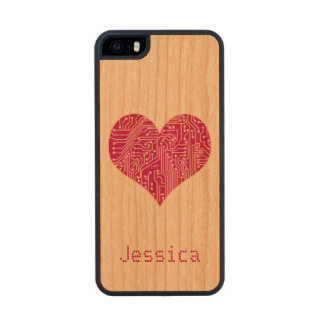 Personalized Pink Digital Love Heart Circuit Board Carved® Cherry iPhone 5 Case