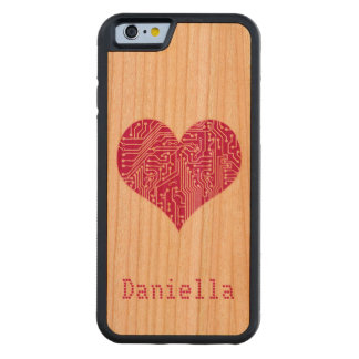 Personalized Pink Digital Love Heart Circuit Board Carved® Cherry iPhone 6 Bumper Case