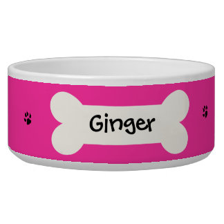 Personalized Pink Dog Bowl