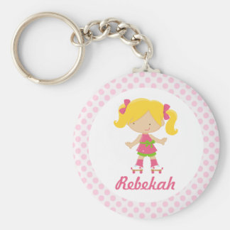 Personalized Pink Dots Blonde Roller Skater v2 Basic Round Button Keychain