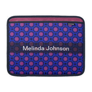 Personalized pink dots on blue pattern sleeve for MacBook air