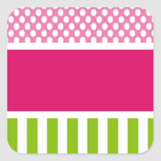 personalized pink dots square sticker