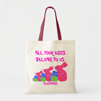Personalized Pink Easter Bunny All Your Eggs Tote Budget Tote Bag