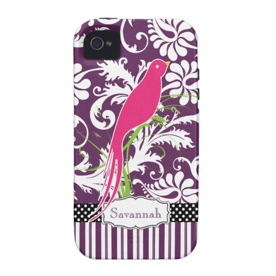 Personalized Pink Eggplant Damask Love Bird iPhone 4/4S Cover