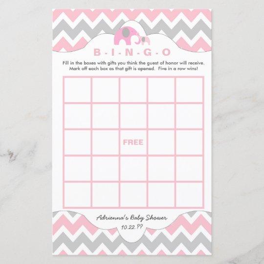 Personalized Pink Elephant Baby Shower Games Bingo Zazzle Com