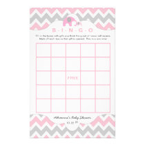 Personalized Pink elephant baby shower games bingo Flyer