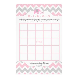 Personalized Pink elephant baby shower games bingo