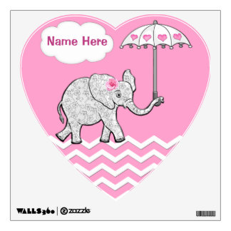 Personalized Pink Elephant Wall Decals for Nursery