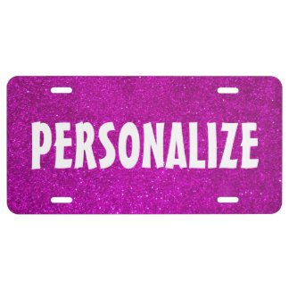 Personalized pink faux glitter license plate license plate