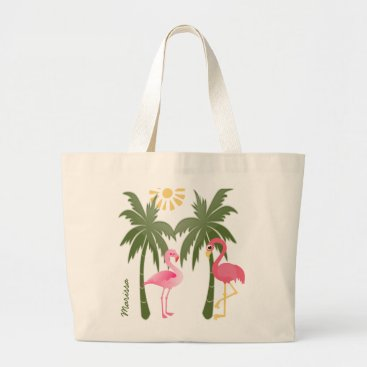 Beach Themed Personalized Pink Flamingo Beach Tote