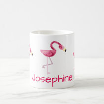 Personalized Pink Flamingo Bird Coffee Mug