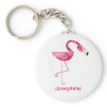 Personalized Pink Flamingo Bird Keychain