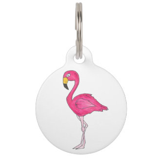 Personalized Pink Flamingo Bird Pet Name Tag
