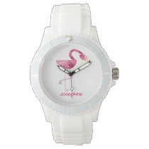 Personalized Pink Flamingo Bird Watches