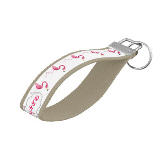 Personalized Pink Flamingo Bird Wrist Keychain