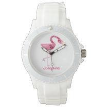 Personalized Pink Flamingo Bird Wrist Watch