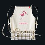 """Personalized Pink Flamingo Bird Zazzle HEART Apron<br><div class=""""desc"""">Personalized Pink Flamingo Bird</div>"""