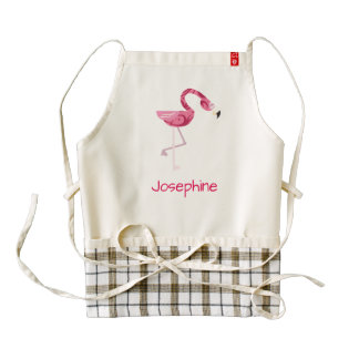 Personalized Pink Flamingo Bird Zazzle HEART Apron