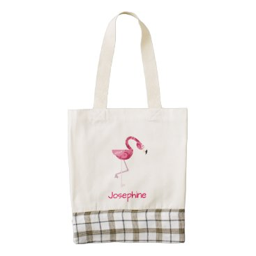 Personalized Pink Flamingo Bird Zazzle HEART Tote Bag