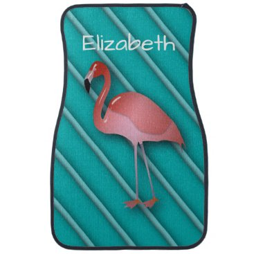 Beach Themed Personalized Pink Flamingo Car Floor Mat