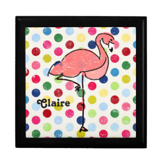 Personalized Pink Flamingo Colorful Spots Jewelry Box