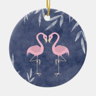 Personalized Pink Flamingo Couple Tropical Beach Ceramic Ornament