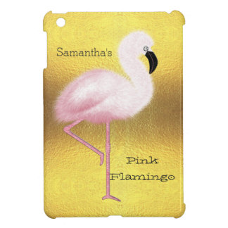 Personalized Pink Flamingo Fake Gold Foil Cover For The iPad Mini