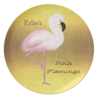 Personalized Pink Flamingo Faux Gold Foil Dinner Plate