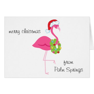 Beach Themed Personalized Pink Flamingo Santa Christmas Card