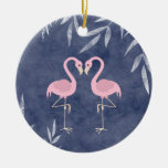 Personalized Pink Flamingo Tropical Beach Ornament