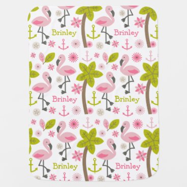 Toddler & Baby themed Personalized Pink Flamingos Baby Blanket