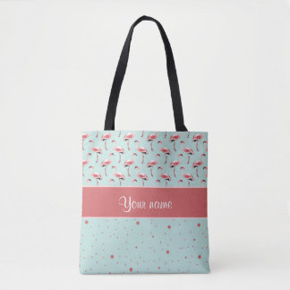 Personalized Pink Flamingos Polka Dots Tote Bag