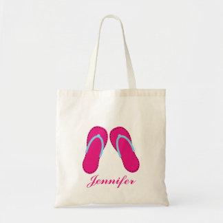 Personalized Pink Flip Flop Sandals Tote Bag