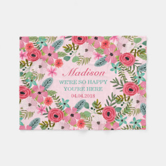 Personalized pink floral fleece baby blanket