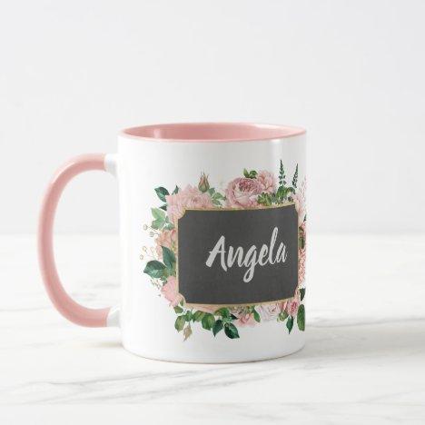 Personalized Pink Floral Framed Name Mug