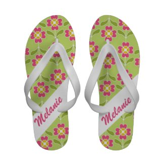 Personalized Pink Floral Pattern on Lime Green Flip Flops