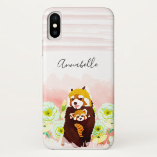 Personalized Pink Floral Red Panda iPhone X Case