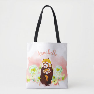 Personalized Pink Floral Red Panda Mom Baby Tote