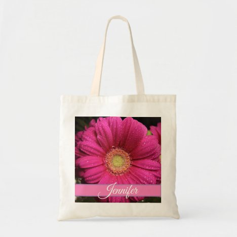 Personalized Pink Floral Tote Bag