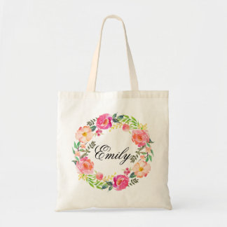 Personalized Pink Floral Wreath Braidsmaid,Welcome Tote Bag