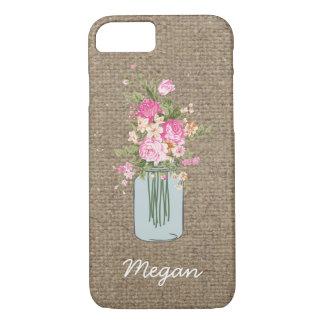 Personalized Pink Flower Mason Jar on Burlap iPhone 7 Case