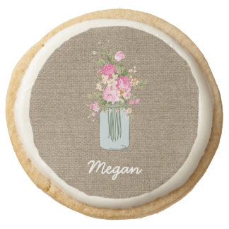 Personalized Pink Flower Mason Jar on Burlap Round Shortbread Cookie