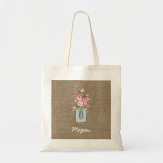 Personalized Pink Flower Mason Jar on Burlap Tote Bag