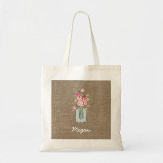 Personalized Pink Flower Mason Jar on Burlap Tote Bag