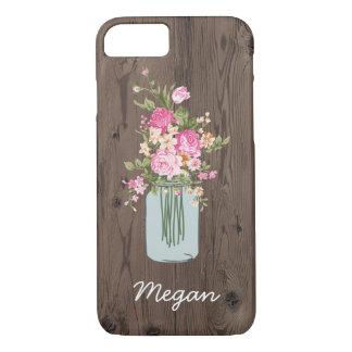 Personalized Pink Flower Mason Jar on Dark Wood iPhone 7 Case