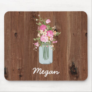 Personalized Pink Flower Mason Jar on Red Wood Mouse Pad