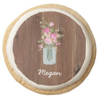 Personalized Pink Flower Mason Jar on Red Wood Round Shortbread Cookie