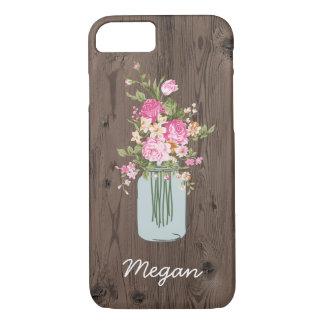 Personalized Pink Flower Mason Jar on Wood iPhone 7 Case